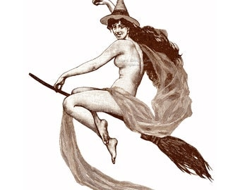 Halloween Witch Card - Naked Witch on Broom - Flies and Points the Way