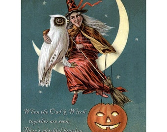 Halloween Witch Card | Owl and Witch Sit on Moon | Jack O' Lantern Card