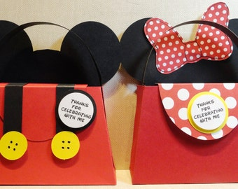 Mickey Mouse, Minnie Mouse Disney party favor/gift boxes in an easy to assemble do it yourself kit