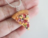 Pizza Necklace - Miniature Food Jewelry - Polymer Clay Food - Cute Necklace - Supreme Pizza - Handmade