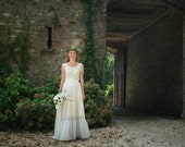 Ivory cotton lace, viscose bridal gown, boho wedding dress - made by your measurments, simple wedding dress, tiered skirt