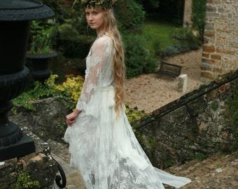 Elegant,delicate white long rose lace cardigan, bridal robe, cotton underdress included, honeymoon,valentine's day,wedding sleepwear