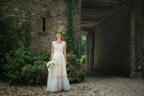 Cotton Wedding Gown: Ivory Cotton Lace Viscose Bridal Gown Boho Wedding Dress
