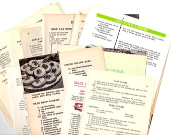 25 Vintage Cookbook Pages - 25 Piece Grab Bag Kit - Vintage Ephemera Collage Kit
