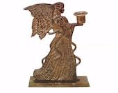 Vintage Brass Angel Candle Holder Angel Wing Metal Candlestick Hollywood Regency Wedding Decor