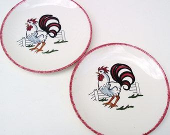 Vintage Rooster Plates / Rooster Wall Hanging, Farmhouse Chic Small Hand Painted Plates - Red White Black, Set of 2