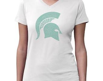 CHILD or ADULT SIZE  Michigan State Bling Crystal Rhinestone Shirt