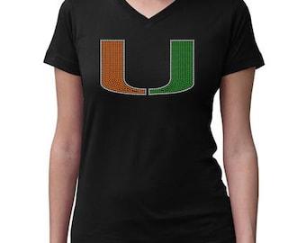 CHILD or ADULT SIZE  Miami Hurricanes Bling Crystal Rhinestone Shirt