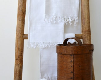 Set of four vintage french cotton towels / Antique french towels