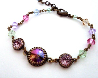 Pastel rhinestone bead bracelet, Austrian crystal, antiqued brass, set crystal stones, wirewrapped crystals, vintage style crystal jewelry