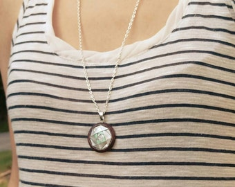 Triple Origami Camellia Pendant Necklace // Silver and Mint