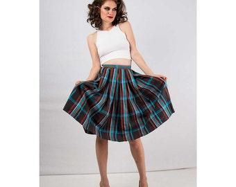 Vintage plaid skirt / Pleated circle skirt / Cotton schoolgirl skirt XS