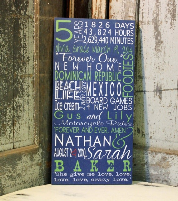 5 Year Anniversary Gift, Subway Art Wall Art Sign Typography, Personalized Subway Sign, Personalized Family Name Sign, Wedding Sign