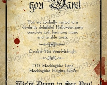 Vintage Style Halloween Party Invitation