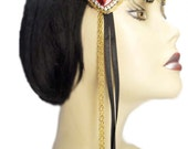 Flapper Headband Ruby Heart Roaring 20's Gatsby Feathered Fascinator Gold Red