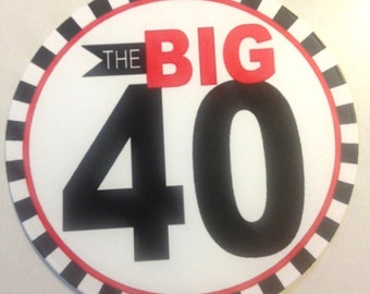 The Big 4-0   4 Inch Labels/Favor Tags - Set of 12 Perfect for Car Racing Themed Party