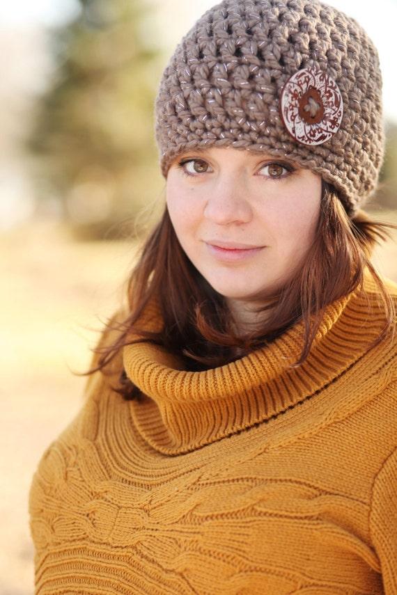 Brown Hand Crochet hat flower - women's crochet hats - winter Beanie for women - crochet beanie - women hat beanie - Sparkle Hat