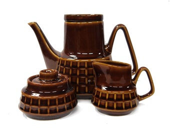 Treacle Glaze Coffee Set Made In Poland c.1960s