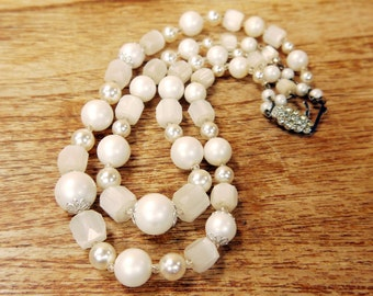 Vintage Pearl and Selenite Effect Necklace 1950s