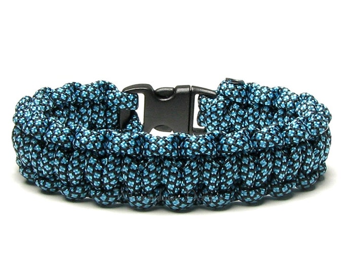 Paracord Bracelet Neon Turquoise Diamond Black Survival Accessory Teal Blue Turquoise Parachute Cord Camping Hiking Hunting Gifts For Men