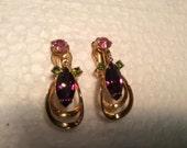 Vintage Atomic Era Clip Earrings Amethyst Emerald and Rose Rhinestones