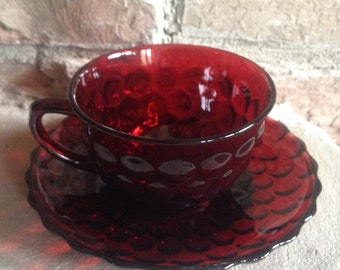 Bubble Ruby Cup & Saucer Vintage Anchor Hocking Red Glass Teacup Tea Cup Crimson Set - #7084