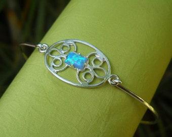 Silver Bracelet - Silver bangle - Sterling Silver Opal Bangle - Opal Bracelet -  Opal Bangle