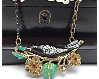 Repurposed Brooch Necklace black bird necklace vintage assemblage necklace