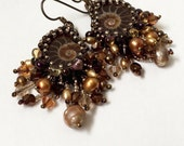 Chocolate bead embroidery ammonite earrings with freshwater pearls and fringe in brown, antique gold and bronze with niobium earwires