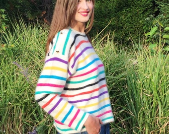 80's Rainbow Stripped Angora Sweater