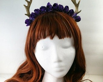 Forest Fawn Deer Antler Flower Crown Accessory Halloween