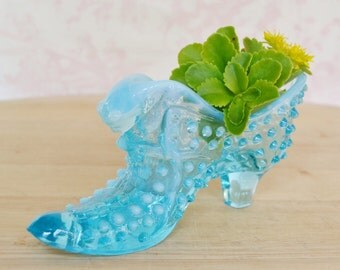 Vintage Light Blue Glass Slipper Shoe with Cat's Head