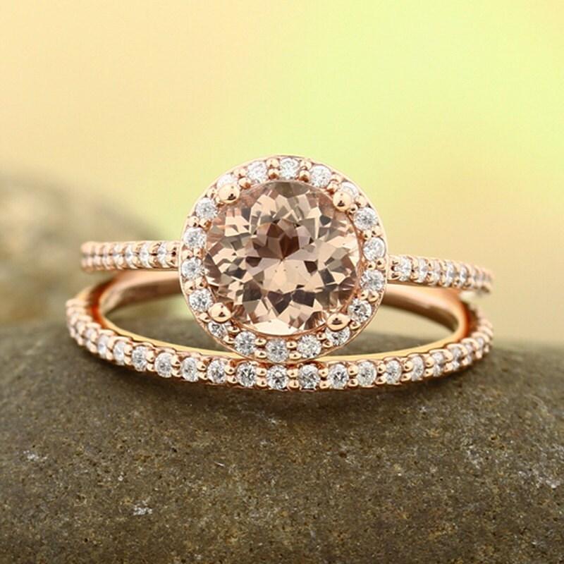 Natural AAA Morganite Ring Set, Diamond Halo Morganite