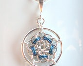 Vortex Medallion Pendant in Silver Fill and Niobium
