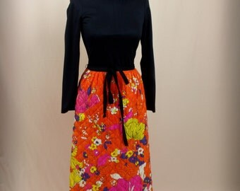 Retro Maxi Dress * Orange and Black Maxi Dress * Quilted Maxi Skirt * 60s Maxi Dress * Psychedelic Dress * Queens Way to Fashion