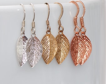 NEW Small Leaf Dangle Earrings,CHOOSE Your Color,Gold Silver Rose Gold Leaf Drop,Casual,Lightweight Earrings,Boho,Nature,Bridesmaids