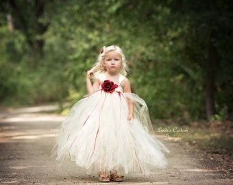 Flower Girl Tutu Dress Ivory and Red for Weddings, Flower Girls, Tutu Dress, Candlelight, Evening Wedding available in White