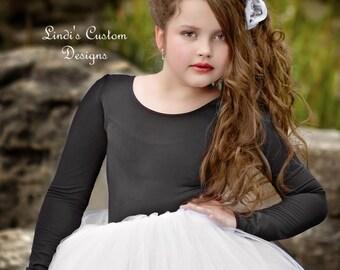 Black Long Sleeve Leotard for Flower Girls, Weddings, Bridal, Dance Accessories
