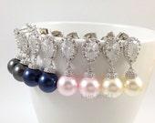 Bridesmaids Pearl Earrings - Swarovski Pearl Earrings Cubic Zirconia Sterling Silver Earrings - Rosaline, White, Cream, Black, Lavender