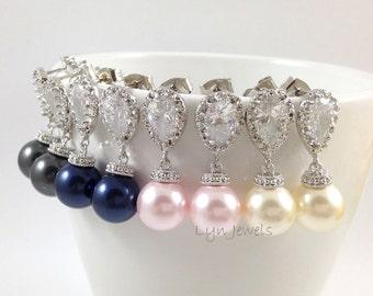 Bridesmaids Pearl Earrings // Bridal Swarovski Pearl Earrings // Swarovski Pearl Prom Earrings // Cubic Zirconia Pearl Earrings