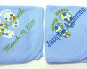 Thermal Baby Receiving Blanket Fabric Applique Feet