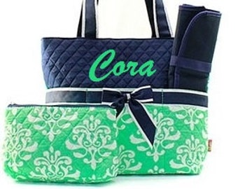 Personalized Diaper Bag Navy Green Bloom 3pc Quilted