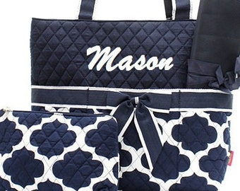 Personalized Diaper Bag Navy White Quilted 3pc Set
