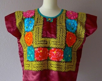 Mexican VINTAGE embroidered Tehuana huipil Tehuana rose satin cadinella embroidered  - Frida Kahlo - Large