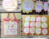 Fabulous Mini Birthday Party Package -Twinkle Twinkle Little Star -Baby Shower -Birthday-Banner -Tags -Cupcake Toppers -Party Sign