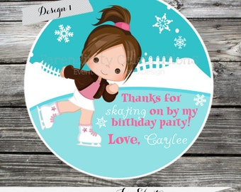 Set of 12 Personalized Favor Tags -Ice Skating -Thank You Tag -Gift Tag -Baby Shower -Birthday-Sticker-Ice Skate Party -Skating Rink