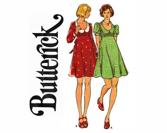 1970s High Waisted Dress with U shaped neckline and puffed sleeves Young Junior Teen 9/10 Bust 30 1/2 UNCUT Sewing Pattern 70s