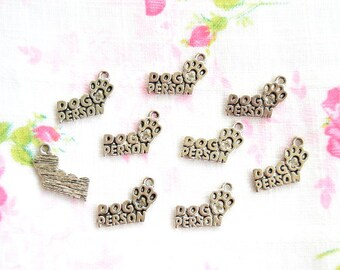 Miniature Dog Person Charms - Antique Silver Color Dog Person Pendants 8pcs - 18x13mm - Nickel Free