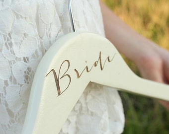 Bride Hanger Creme Laser Engraved Bride Wedding Dress Hanger DownInTheBoondocks