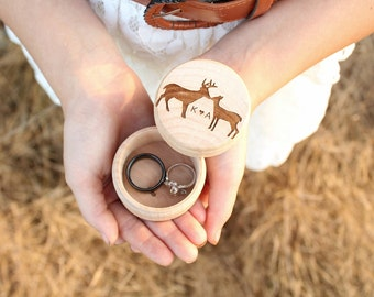 Kissing Buck and Doe Ring Box Keepsake Ring Box Engraved Rustic Wedding Ring Box Camo Wedding DownInTheBoondocks